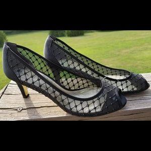Adrianna Papell Mesh & gem peep-toe kitten heels